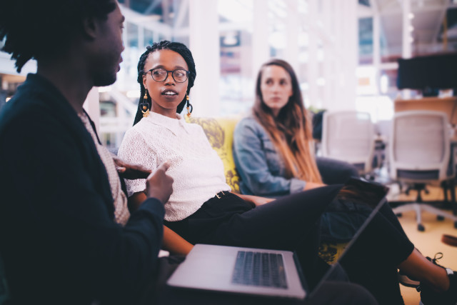office conversation start up with three women